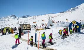 Kids Land at the Yellow Power Ski School